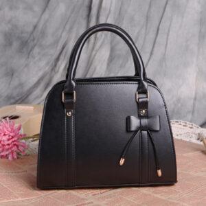 Womens Fashion Handbag With Bow - Black