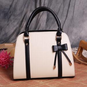 Womens Fashion Handbag With Bow - White