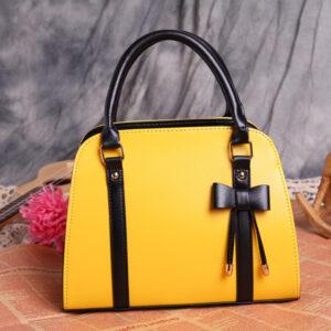 Womens Fashion Handbag With Bow - Yellow